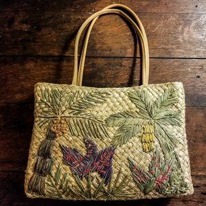 Vintage Woven Straw Handbag